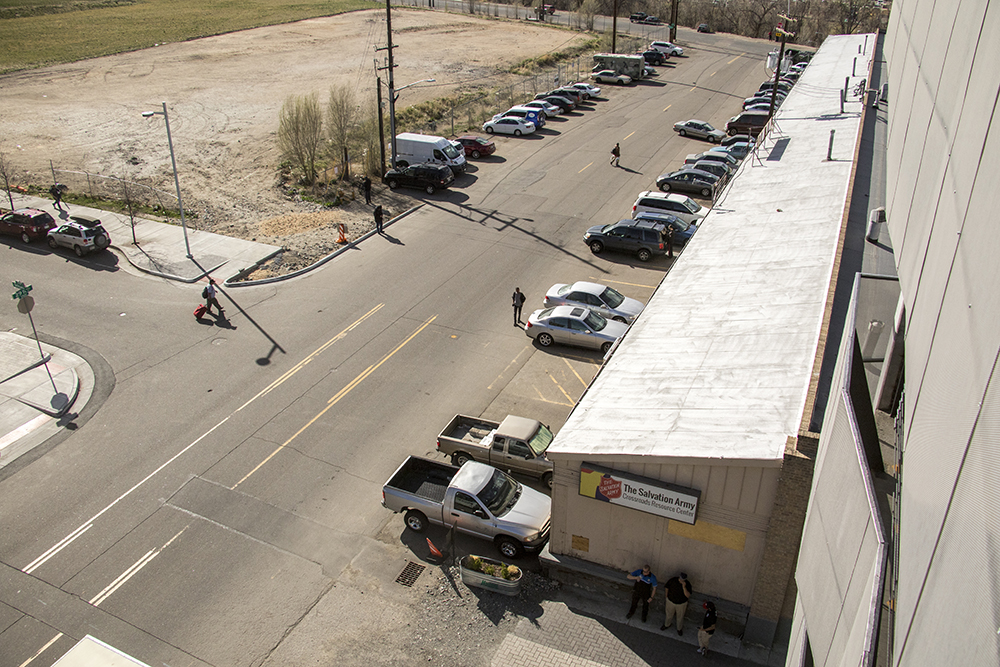 The Salvation Army Crossroads Resource Center off Brighton Boulevard, April 12, 2018. (Kevin J. Beaty/Denverite)