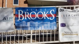 An Albus Brooks banner at Whittier Elementary School. (Courtesy Jason Legg)