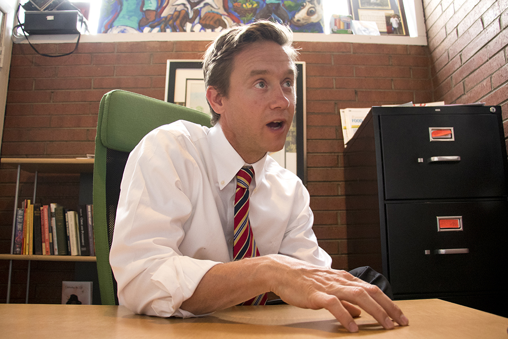 Colorado gubernatorial candidate Mike Johnston in his Northeast Park Hill campaign headquarters, May 7, 2018. (Kevin J. Beaty/Denverite)