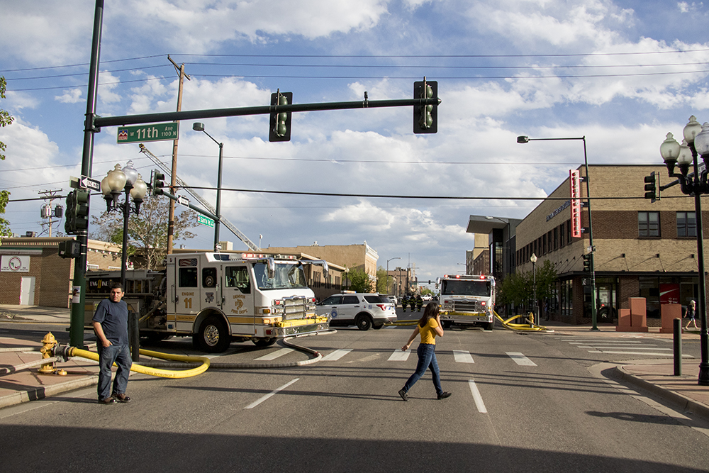 Santa Fe Drive was shut down after Tortillas Mexico broke out in flames on Thursday evening, May 10, 2018. (Kevin J. Beaty/Denverite)denver; colorado; denverite; lincoln park; fire; firefighting; kevinjbeaty;