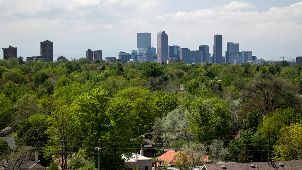 The view from Theo, the first residential building to open as part of the 9th Avenue and Colorado Boulevard projects, is finally open to renters, May 14, 2018. (Kevin J. Beaty/Denverite)  denver; colorado; denverite; residential real estate; development; kevinjbeaty; hale; skyline; cityscape;
