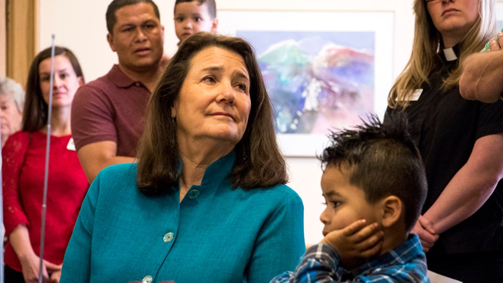 U.S. Rep. Diana DeGette meets with Araceli Velasquez, her family and supporters at Park Hill United Methodist Church and Temple Micah, where she's lived in sanctuary to avoid deportation for nearly 10 months. May 29, 2018. (Kevin J. Beaty/Denverite)