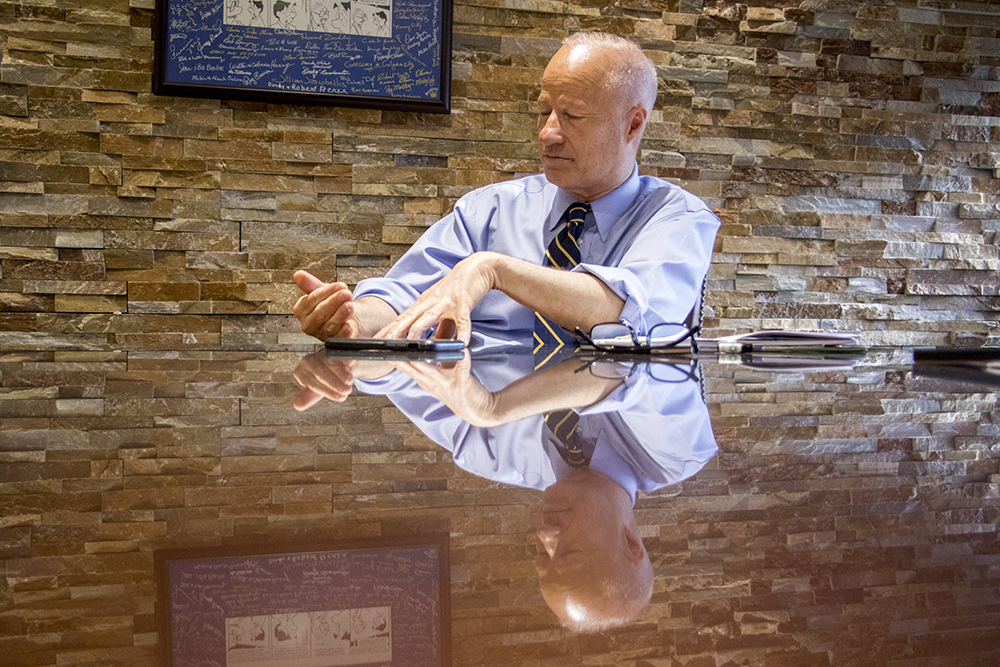 Congressman Mike Coffman speaks to reporters in his Aurora office, May 31, 2018. (Kevin J. Beaty/Denverite)