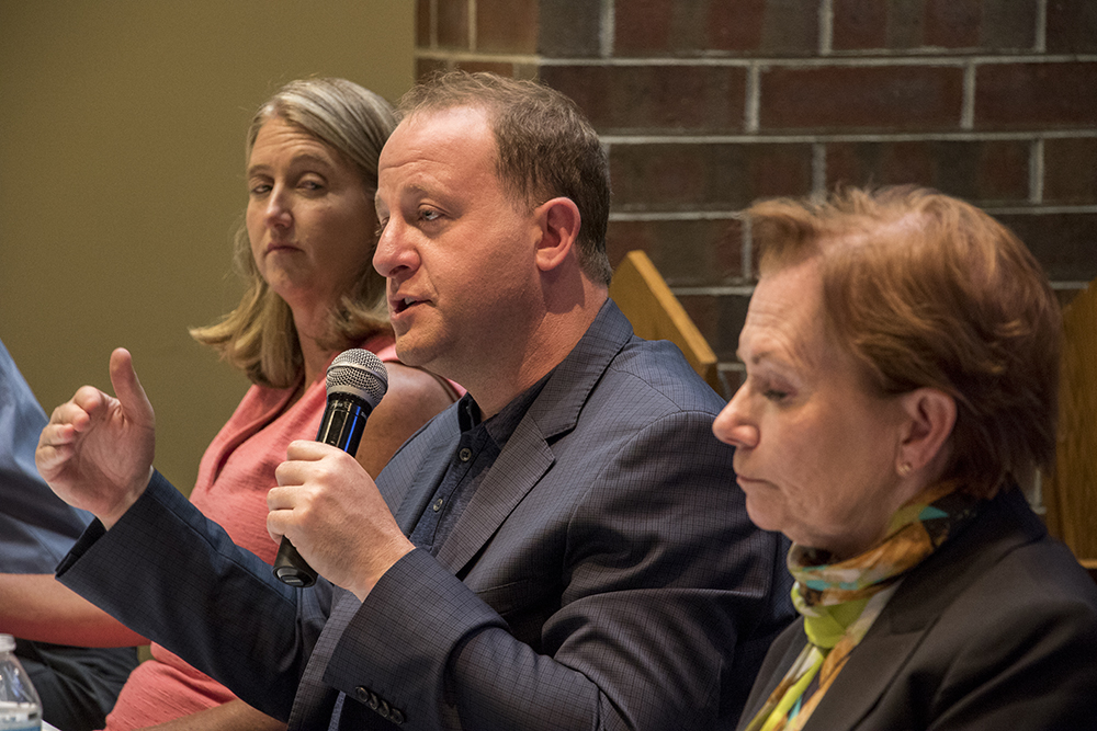 Congressman Jared Polis speaks at a forum on homelessness and housing for gubernatoral candidates at the Shorter Community AME Church, May 31, 2018. (Kevin J. Beaty/Denverite)
