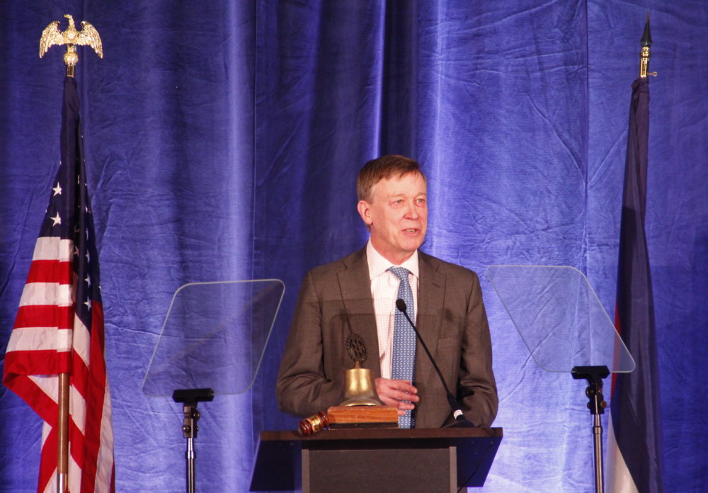 Gov. John Hickenlooper at the Aurora State of the City at the Hyatt Regency Aurora-Denver Conference Center on Thursday, May 10. (Esteban L. Hernandez / Denverite)