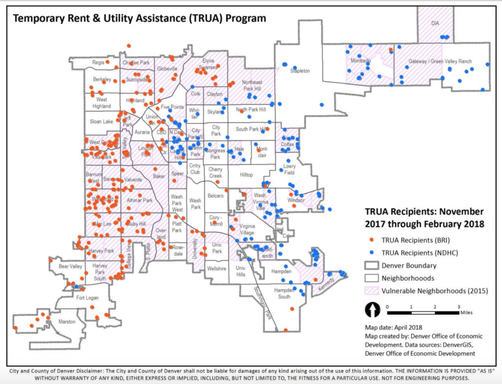 A map of the recipients of utility assistance through a new Denver program. The coloration shows that funds were distributed