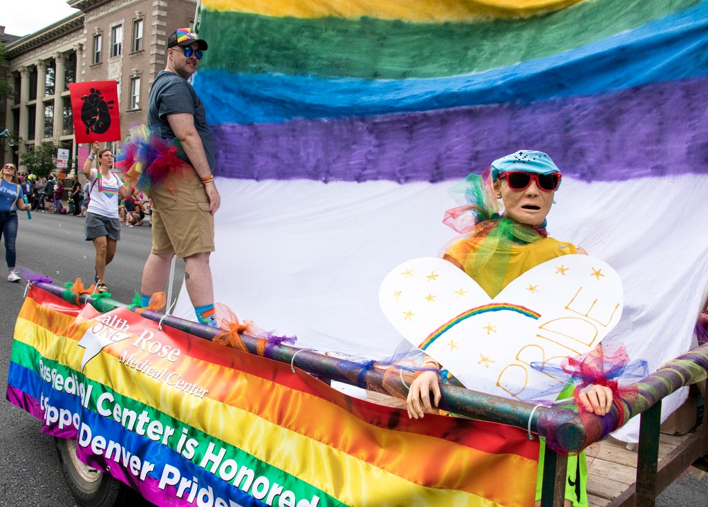 A float for the Rose Medical Center in the Denver PrideFest parade, June 17, 2018. (Kevin J. Beaty/Denverite)