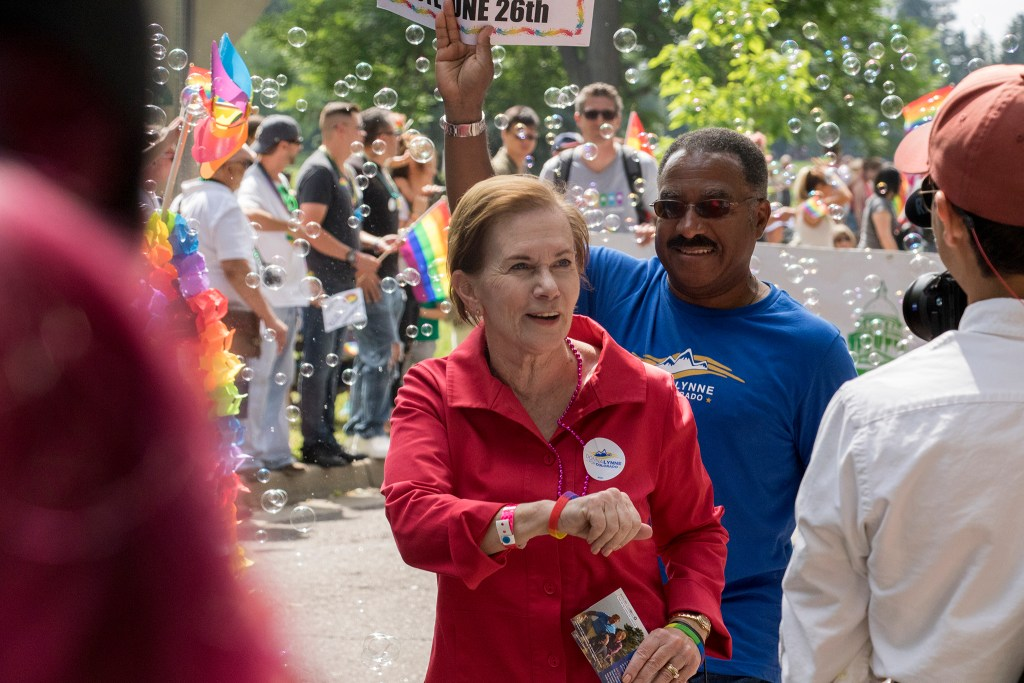 Colorado's lieutenant governor and gubernatorial candidate Donna Lynne marches in the Denver PrideFest parade, June 17, 2018. (Kevin J. Beaty/Denverite)