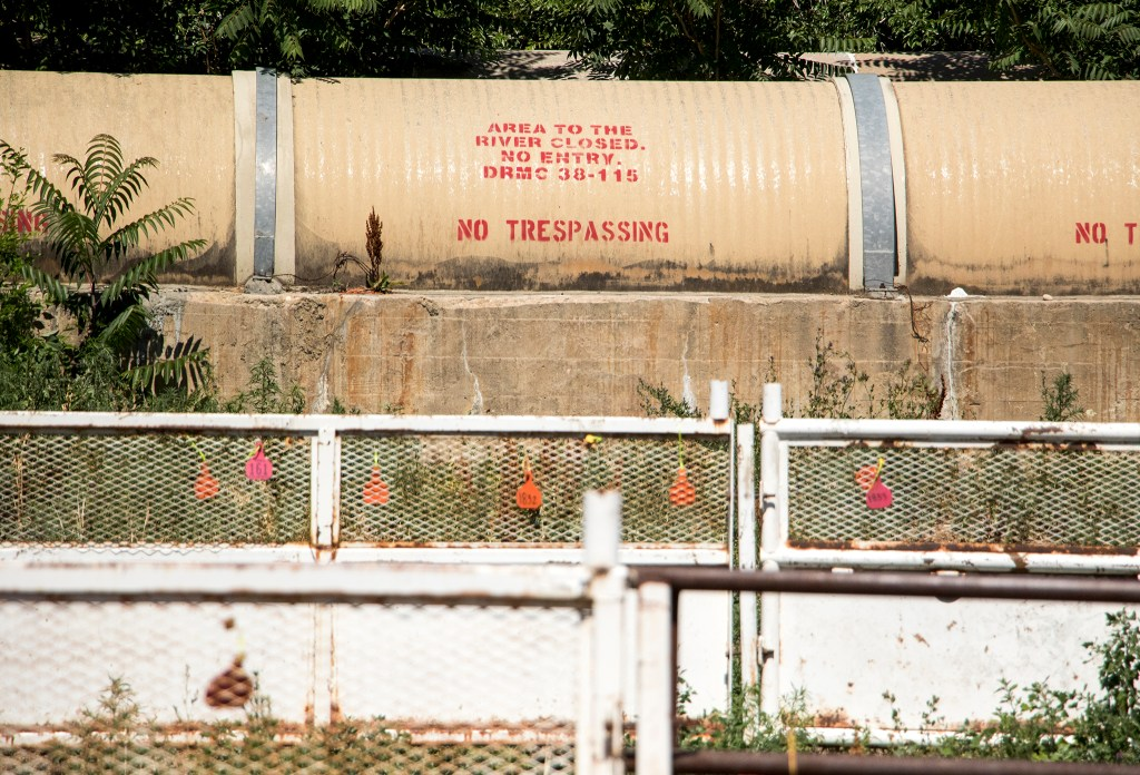 """""""Area to the river closed,"""" seen at the National Western Center, June 25, 2018. (Kevin J. Beaty/Denverite)"""