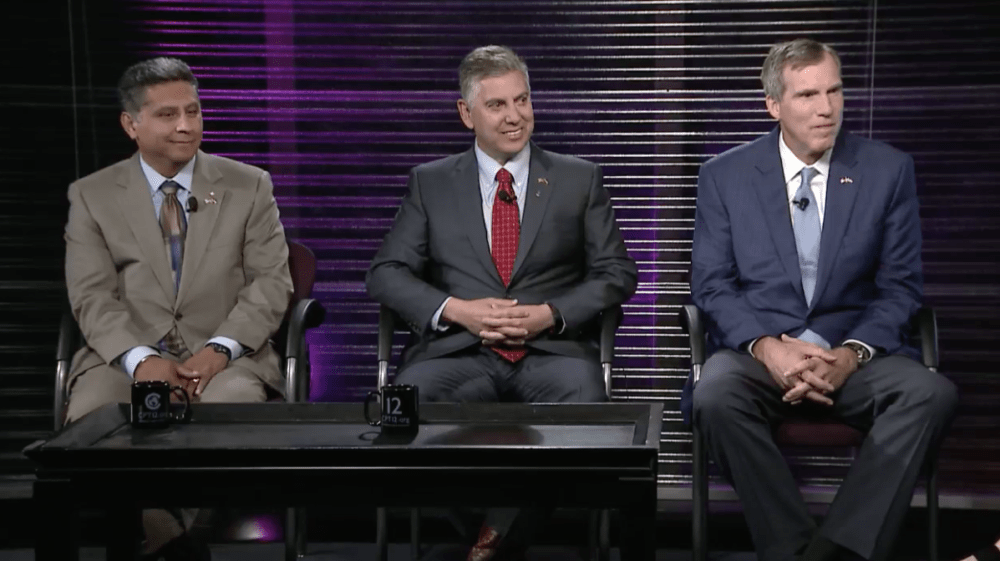 A screenshot of the GOP gubernatorial debate on Wednesday, June 6, in Denver. From left: Greg Lopez, Victor Mitchell and Doug Robinson.