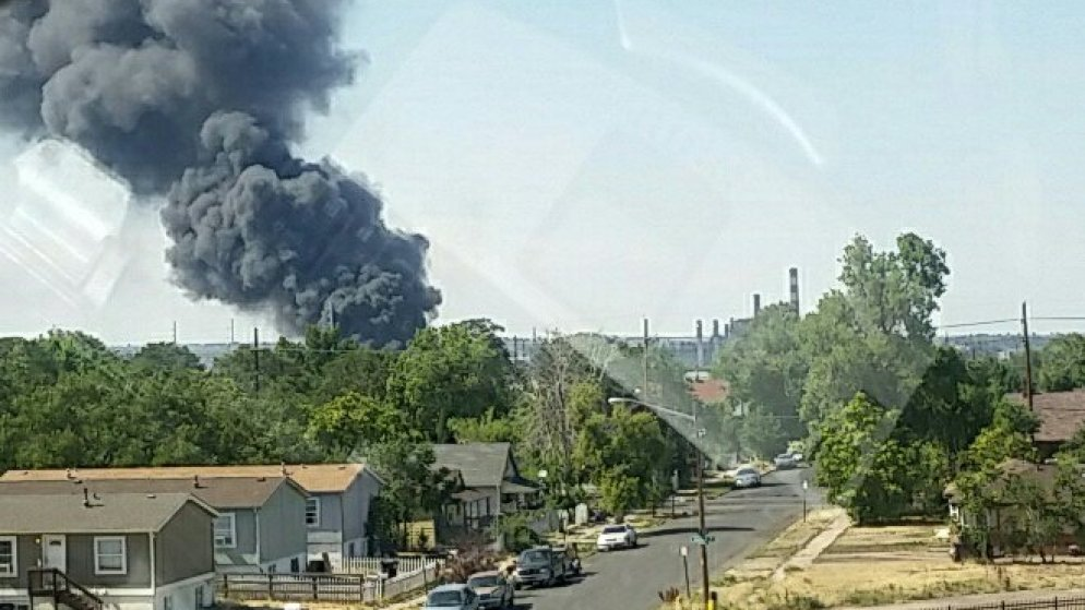 A fire at a scrap metal recycling plant on July 11, 2018. (Denver Fire Department)