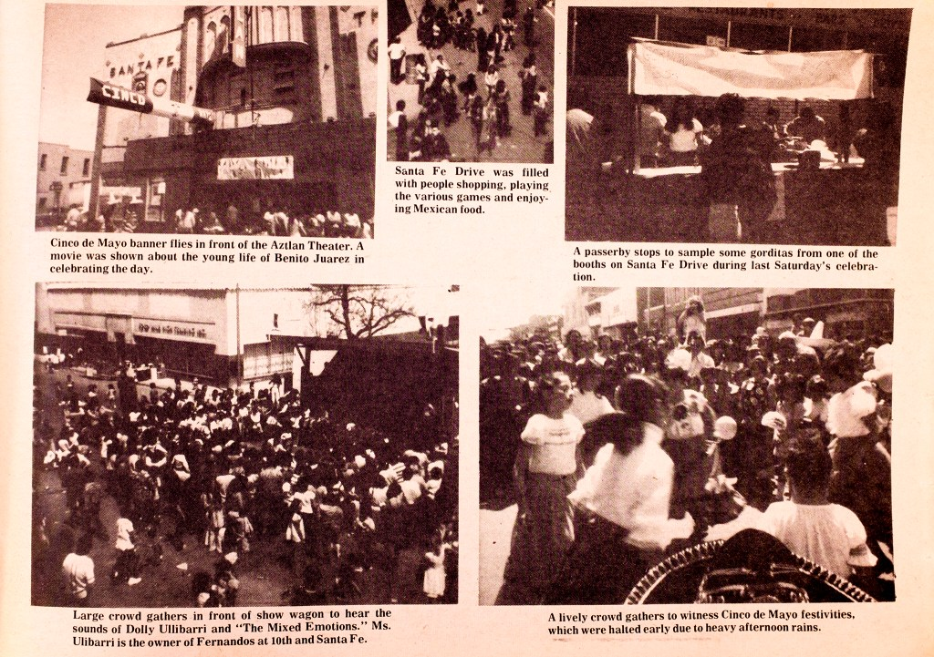 Coverage of Cinco De Mayo on Santa Fe Drive organized by the West Side Coalition, seen in the West Side Recorder, May 1973.