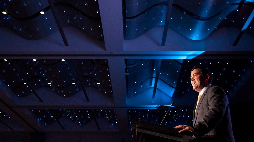 Republican gubernatorial candidate Walker Stapleton speaks at the Colorado Oil and Gas Association's annual energy summit at the Colorado Convention Center, Aug. 22, 2018. (Kevin J. Beaty/Denverite)