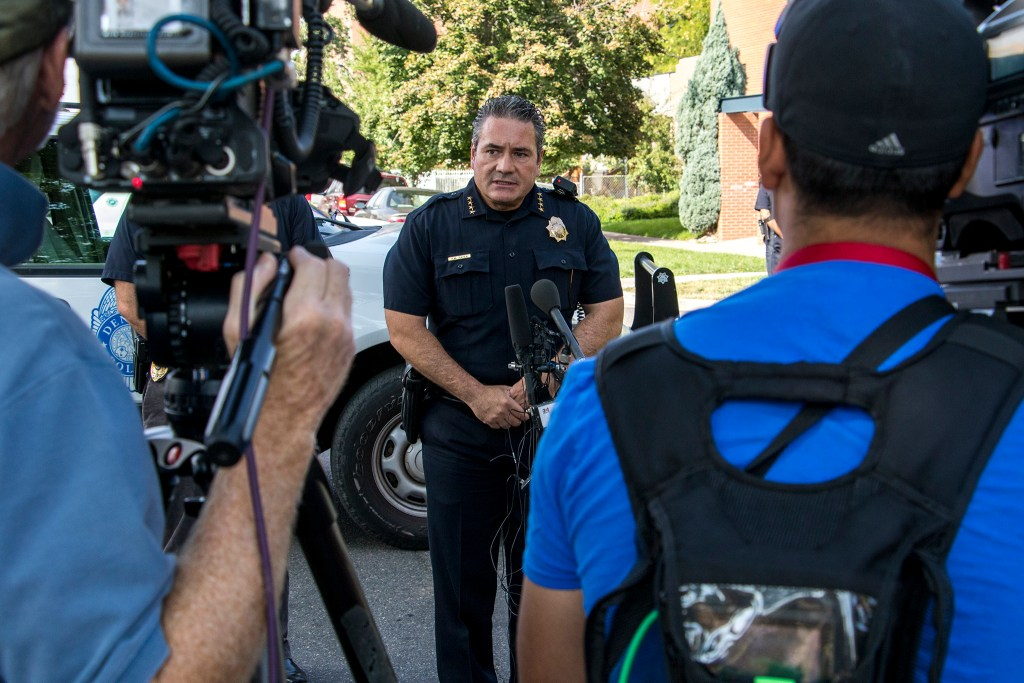 Denver Police Chief Paul Pazen speaks to press after a shooting near the DSST Cole middle school at the Mitchell building, Aug. 28, 2018. (Kevin J. Beaty/Denverite)