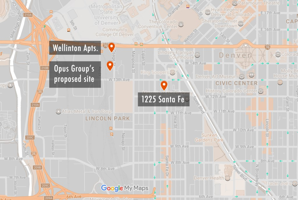 1225 Santa Fe Drive and the Wellington Apartments will add a lot of new rental units to La Alma Lincoln Park. The Opus Group has proposed another project that could add even more. (Google Maps)