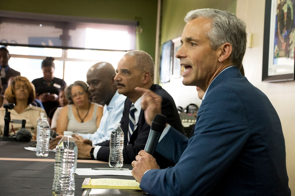U.S. Attorney John Walsh speaks on a panel at Brother Jeff's Cultural Center in Five Points, Sept. 27, 2018. (Kevin J. Beaty/Denverite)