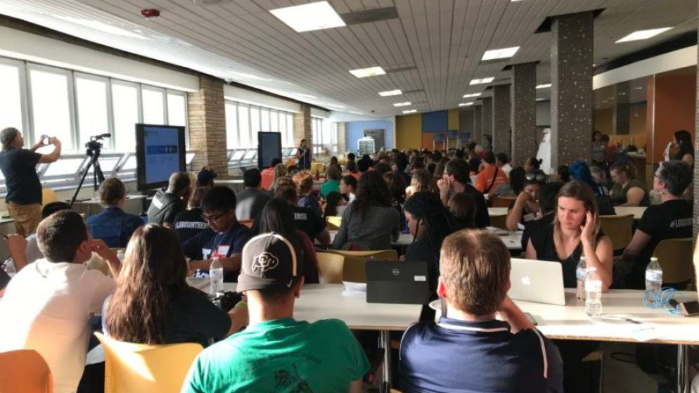 More than 100 people gathered at Abraham Lincoln High School to give feedback on the Denver superintendent search. (Melanie Asmar/Chalkbeat)
