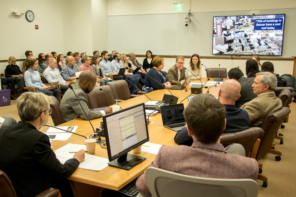 A Denver City Council special issues committee for the Green Roof Initiative convenes with a packed audience, Oct. 11, 2019. (Kevin J. Beaty/Denverite)