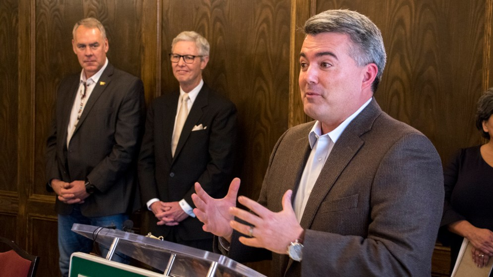 Sen. Cory Gardner speaks during a press conference with Secretary of the Interior Ryan Zinke and Rep. Ed Perlmutter to announce a new partnership between the Colorado School of Mines and U.S. Geological Survey. Denver Athletic Club, Oct. 22, 2018. (Kevin J. Beaty/Denverite)