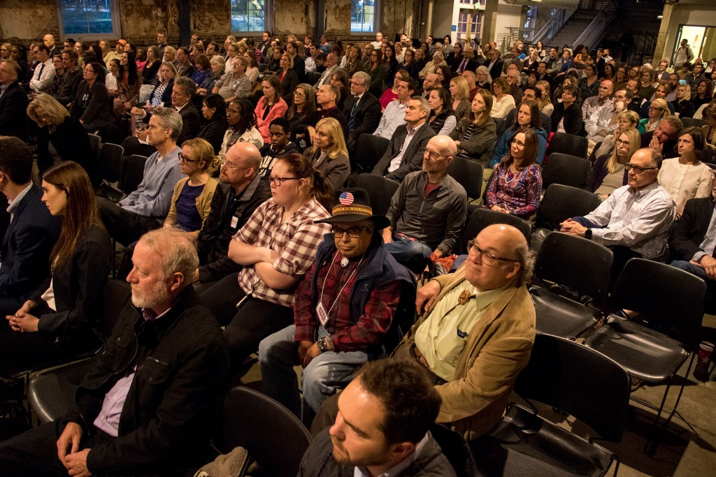 The Tivoli Turnhalle on the Auraria Campus is full during a debate for Colorado Attorney General candidates, Oct. 23, 2018. (Kevin J. Beaty/Denverite)