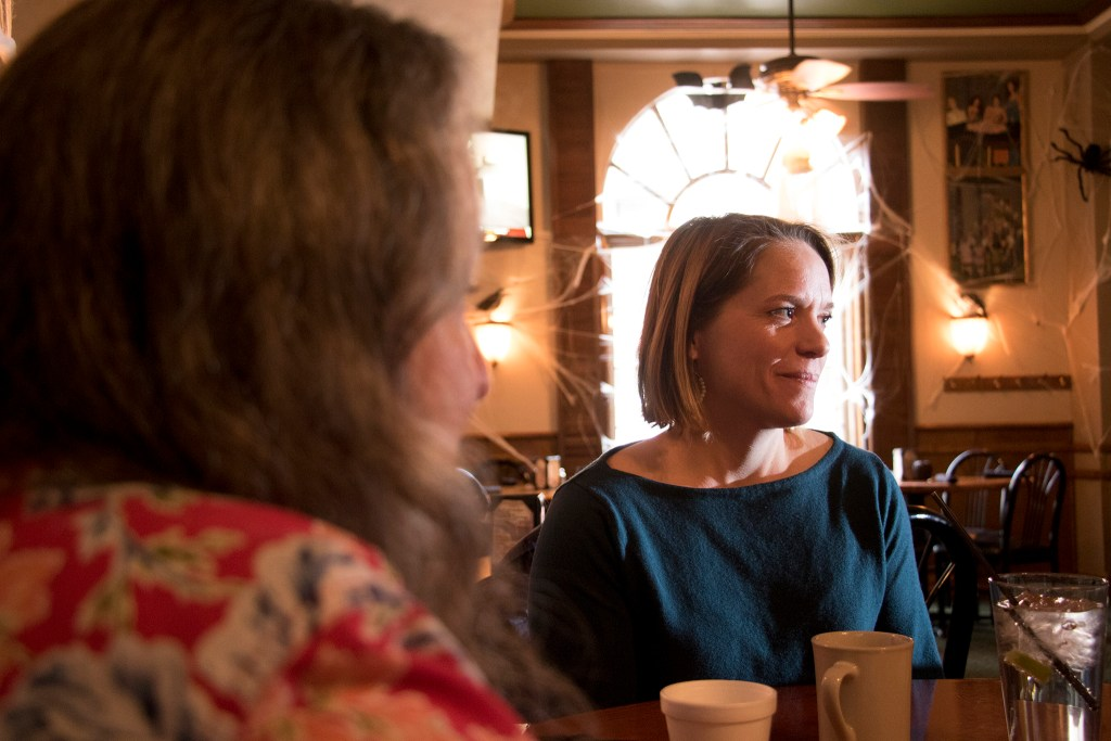 Kimball Crangle (right) and Colleen Priebe speak to a reporter at Charlie Brown's inside the Colburn Hotel, Oct. 30, 2018. (Kevin J. Beaty/Denverite)