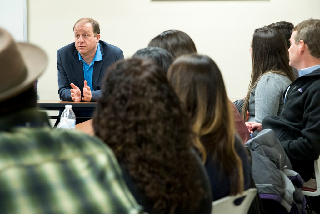 Gubernatorial candidate Jared Polis speaks on a panel at Servicios de la Raza, Oct. 30, 2018. (Kevin J. Beaty/Denverite)