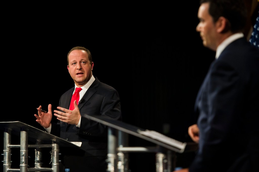 Democratic candidate for Colorado governor Jared Polis, left, participates in a debate with Republican candidate for Colorado governor Walker Stapleton, right, on Wednesday, Oct. 17, 2018, at the Lory Students Center on Colorado State University's campus in Fort Collins, Colo. (Timothy Hurst/The Coloradoan)