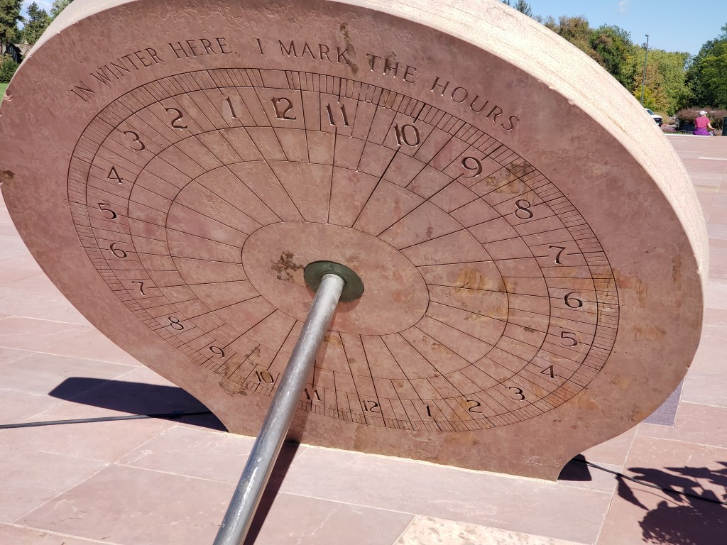 A closer look at the recently restored sundial in Cranmer Park. (Allan Tellis/Denverite)