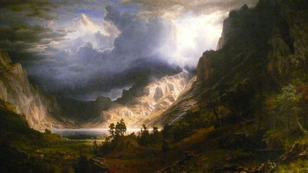 """A Storm in the Rocky Mountains, Mt. Rosalie,"" by Albert Bierstadt, depicts what's now known as Mount Evans. (Wikimedia Commons)"