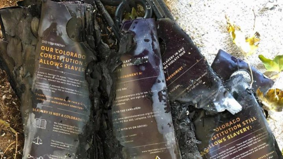 A photo of charred pro-Amendment A canvassing materials on Jumoke Emery-Brown's porch. He posted this to his Facebook page on Nov. 5, 2018. (Courtesy: Jumoke Emery-Brown)