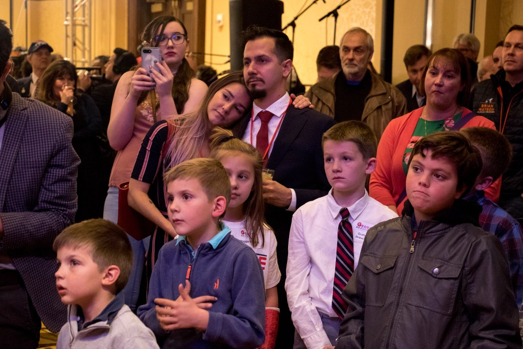 The crowd listens as Walker Stapleton makes a concession speech at the Colorado Republicans' election day party, Nov. 6, 2018. (Kevin J. Beaty/Denverite)