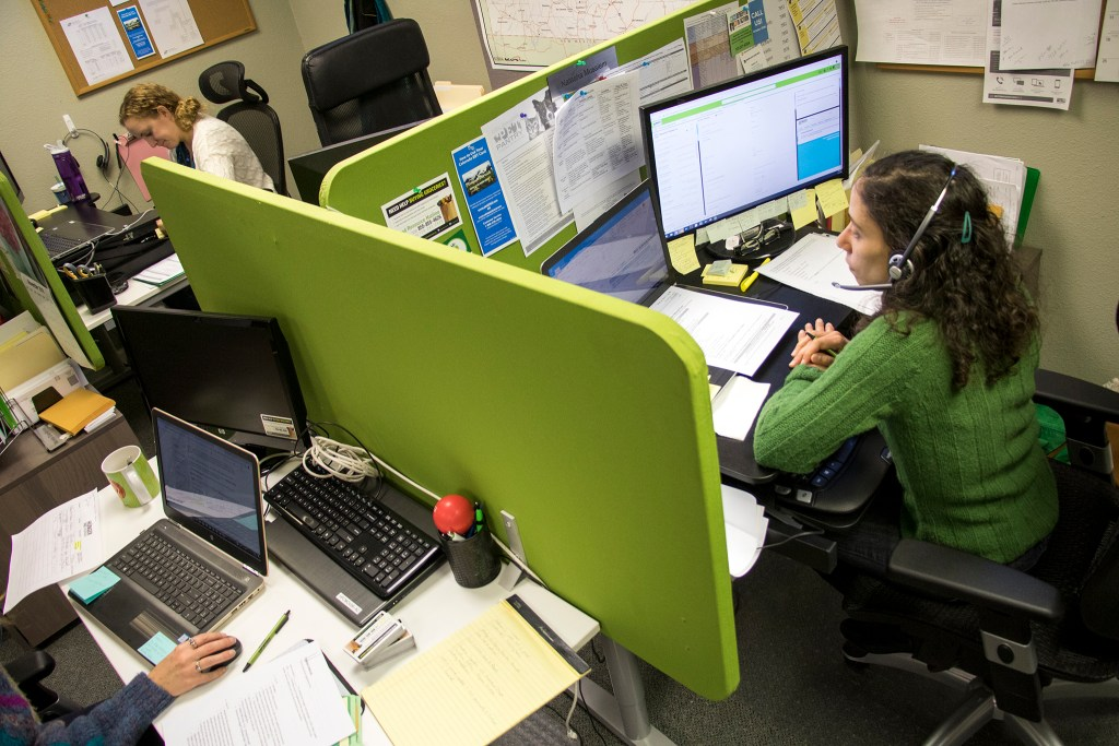 Inside a Hunger Free Colorado call center that helps people navigate the public benefits process, Nov. 7, 2018. (Kevin J. Beaty/Denverite)