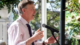 Governor John Hickenlooper speaks at a lunch at the governor's mansion in Capitol Hill, Nov. 16, 2018. (Kevin J. Beaty/Denverite)