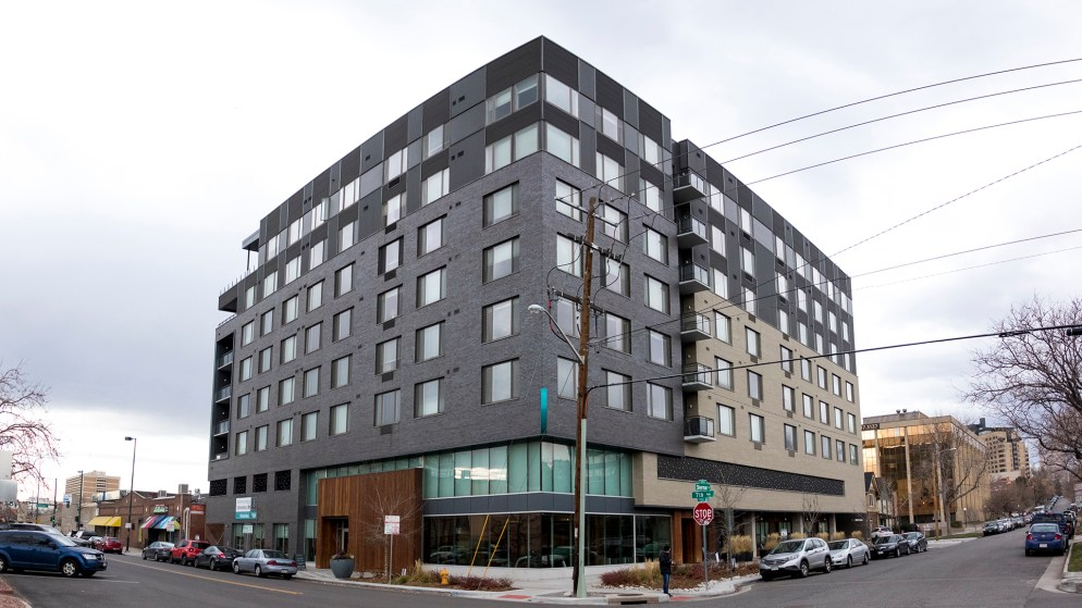 The 7S apartment building on 7th Avenue in Capitol Hill, Nov. 27, 2018. (Kevin J. Beaty/Denverite)