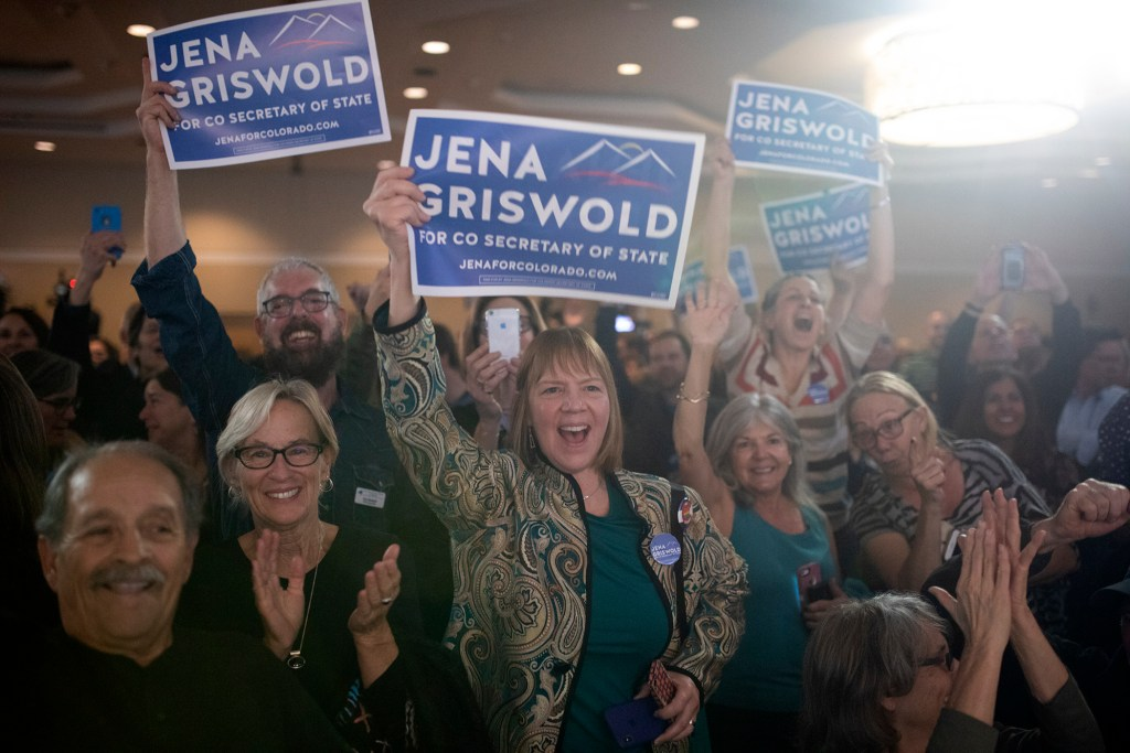 People celebrate during the Colorado Democrats watch party on Tuesday, Nov. 6, 2018, in Denver. (Aly McClaran for Denverite)