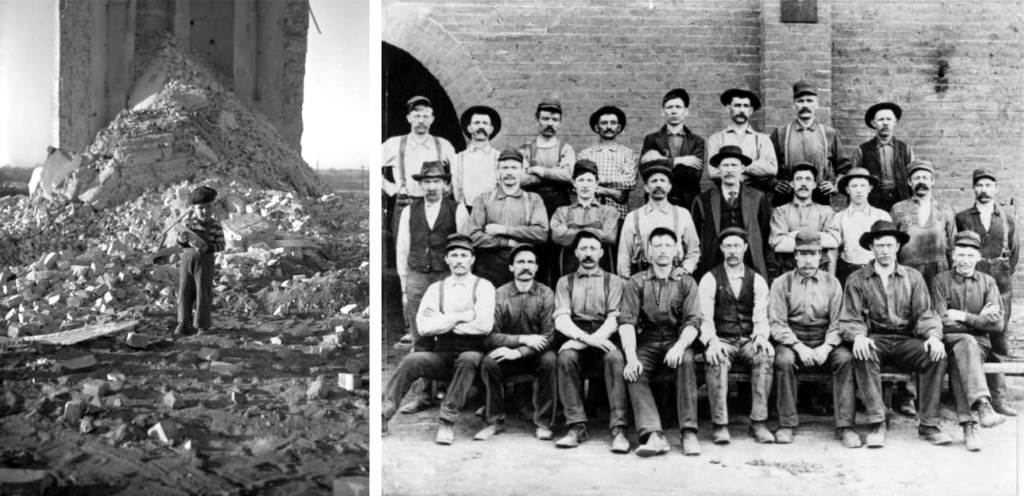 (Left) A small boy stands in the debris of the Omaha-Grant smoke stack after its demolition, 1950. (Right) Last photograph of the day shift workers at the Grant Smelter stack, circa 1902. (Denver Public Library/Western History Center/WH2129 & WH2129)