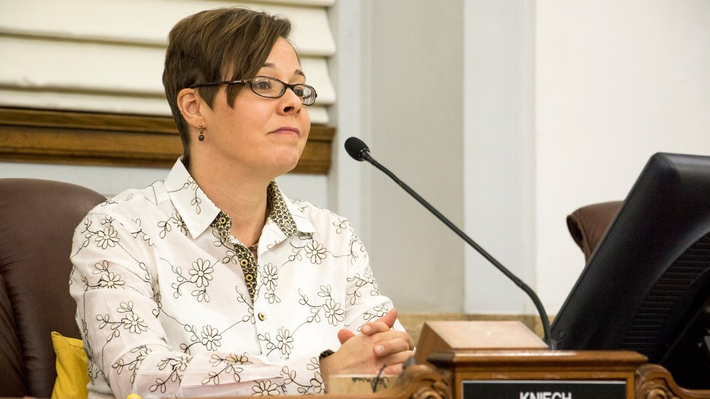 """Denver City Councilwoman Robin Kniech reacts as a bill banning """"conversion therapy"""" is passed, Jan. 7, 2018. (Kevin J. Beaty/Denverite)"""