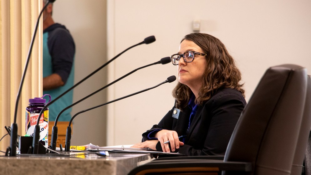 District 46 Representative Daneya Esgar testifies to the state House Health & Insurance Committee on a bill that would make it easier for people to change gender designation on their birth certificates, Feb. 6, 2019. (Kevin J. Beaty/Denverite)