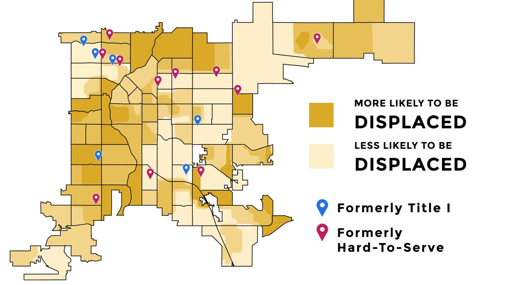 A map of Title I and Hard-To-Serve schools that, according to DPS records, lost those designations in recent years, layered on a map of areas more likely to see displacement, according to Blueprint Denver.