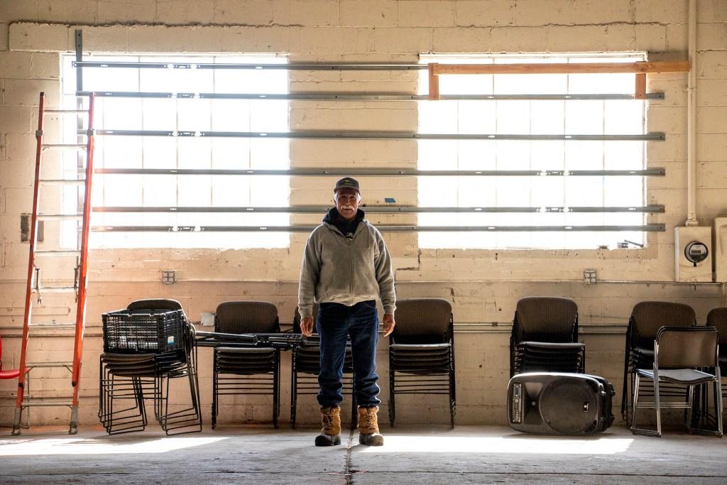 David de Santiago, farm manager with Re:Vision, poses for a portrait inside the old Westwood food co-op, Feb. 20, 2019. (Kevin J. Beaty/Denverite)