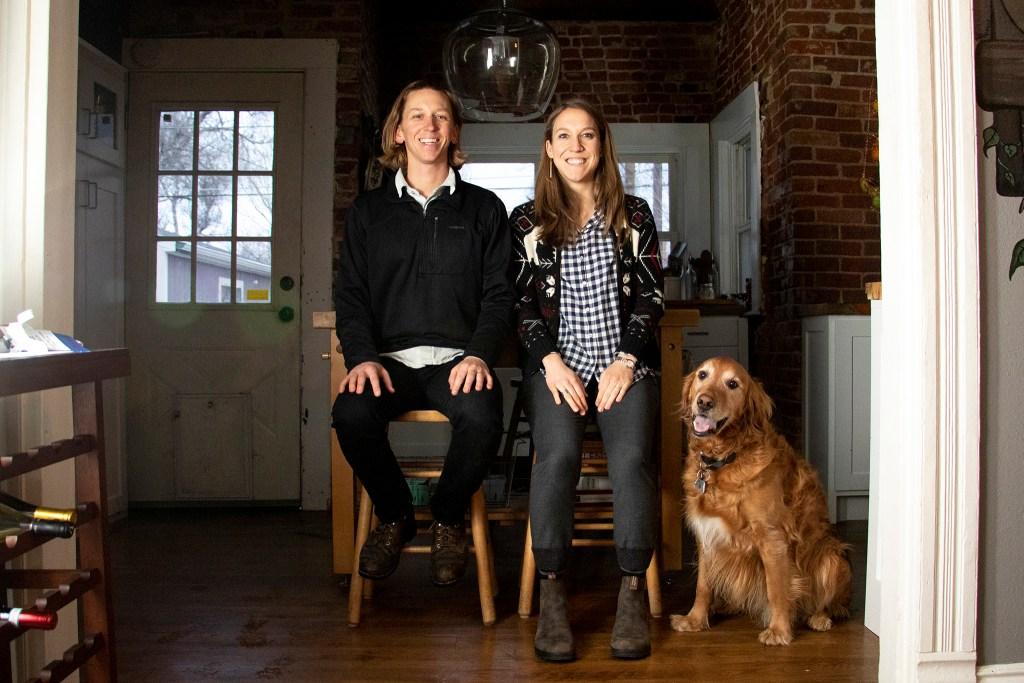 Cole and Kaylanne Chandler pose for a portrait inside their home in Denver's Skyland neighborhood, March 6, 2019. (Kevin J. Beaty/Denverite)