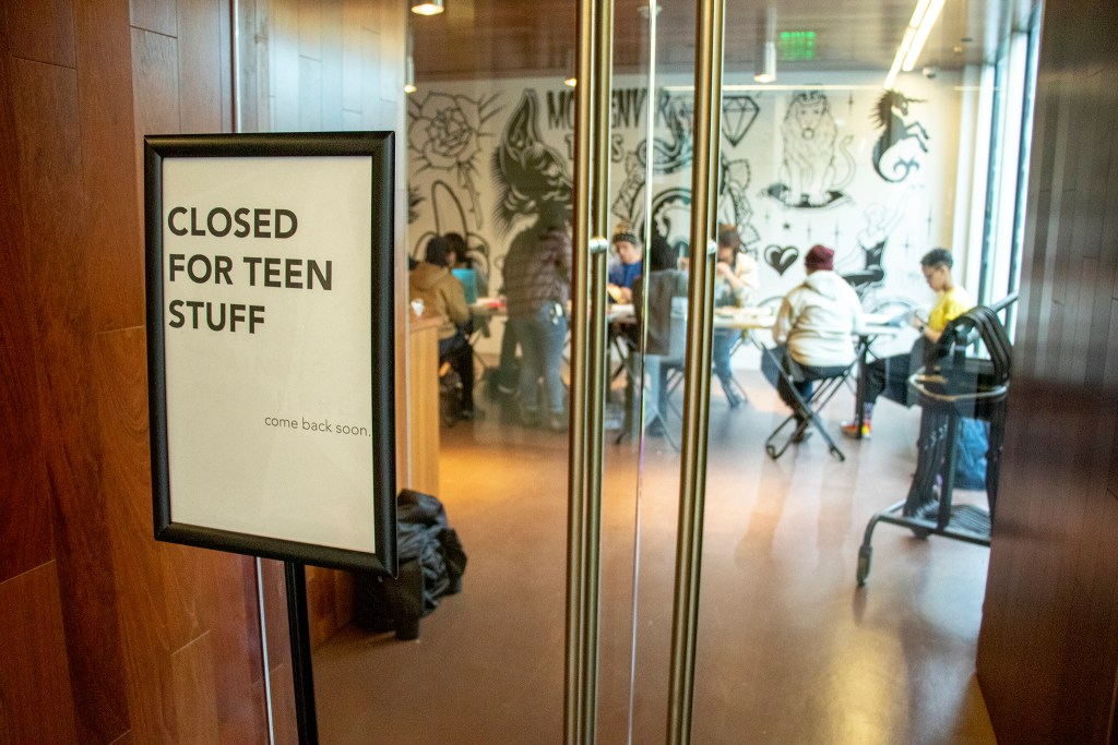 The third-floor gallery at the Museum of Contemporary Art is CLOSED FOR TEEN STUFF, April 30, 2019. (Kevin J. Beaty/Denverite)
