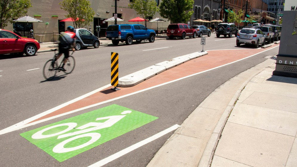 Protected bike lanes on 14th Street downtown, May 30, 2019. (Kevin J. Beaty/Denverite)