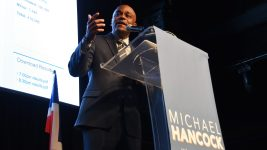 Mayor Michael Hancock address the crowd at his election night party. May 7, 2019. (Corey Jones/CPR News)
