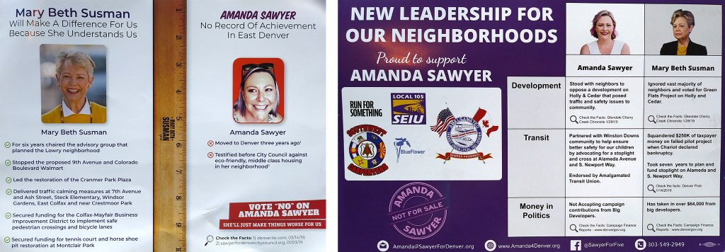 Mail ads for Mary Beth Susman (left) and Amanda Sawyer.