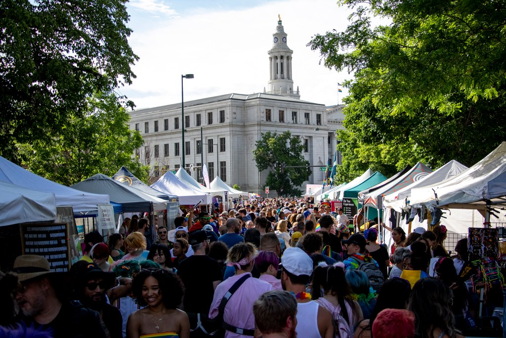 Many vendors line 14th Avenue during PrideFest at Civic Center Park, June 15, 2019. (Kevin J. Beaty/Denverite)