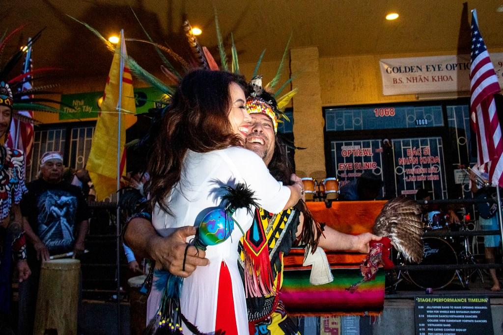 Kieumy Troung and Danny Strange dance during Los Mocochetes' performance at the Little Saigon Night Market. Federal Boulevard, June 21, 2019. (Kevin J. Beaty/Denverite)