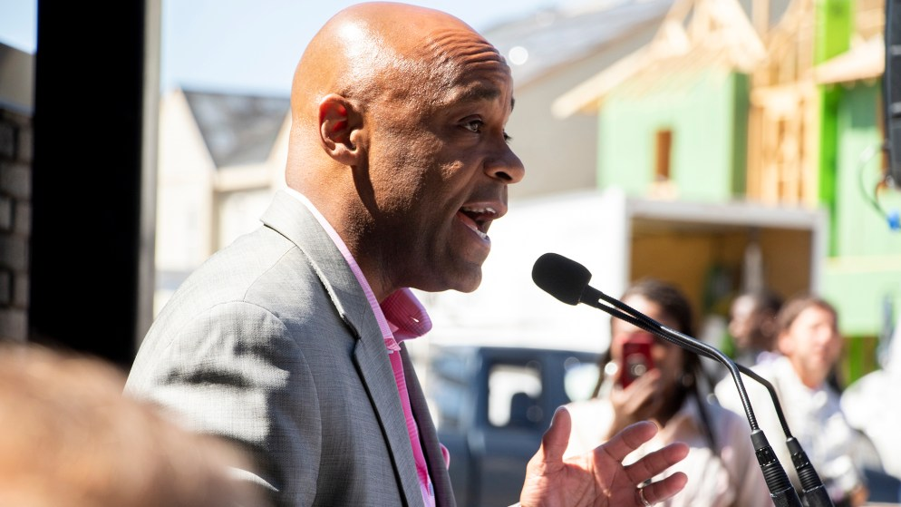 Mayor Michael Hancock speaks during a ribbon-cutting ceremony for the Moline Apartments in Stapleton, July 19, 2019. (Kevin J. Beaty/Denverite)