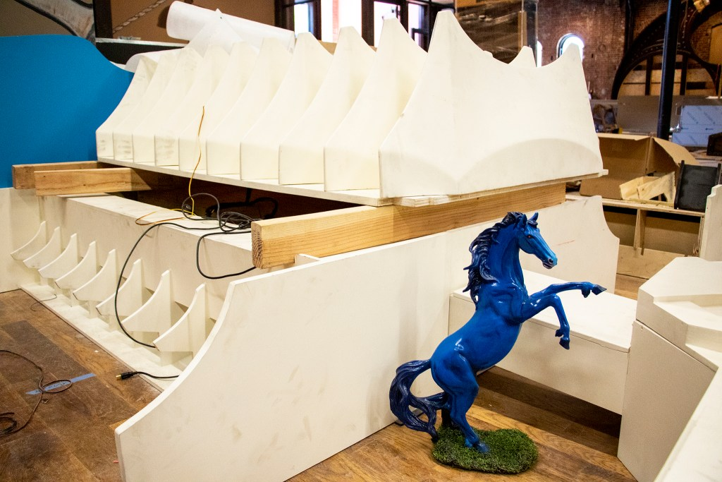 A DIA (and Blucifer)-themed hole inside Urban Putt's new location at the old Old Spaghetti Factory building downtown, July 16, 2019. (Kevin J. Beaty/Denverite)