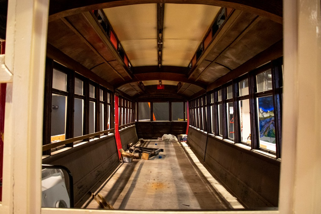 The historic Denver Streetcar was saved after the Old Spaghetti Factory closed and will be used in the new Urban Putt attraction downtown, July 16, 2019. (Kevin J. Beaty/Denverite)
